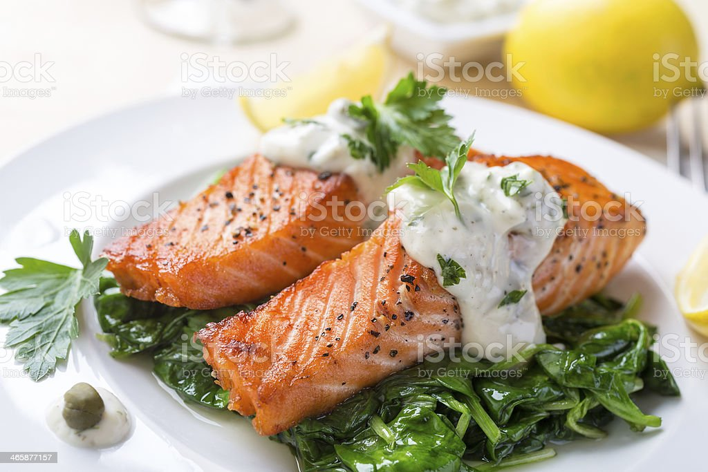 Salmon Steak with Cream Sauce stock photo