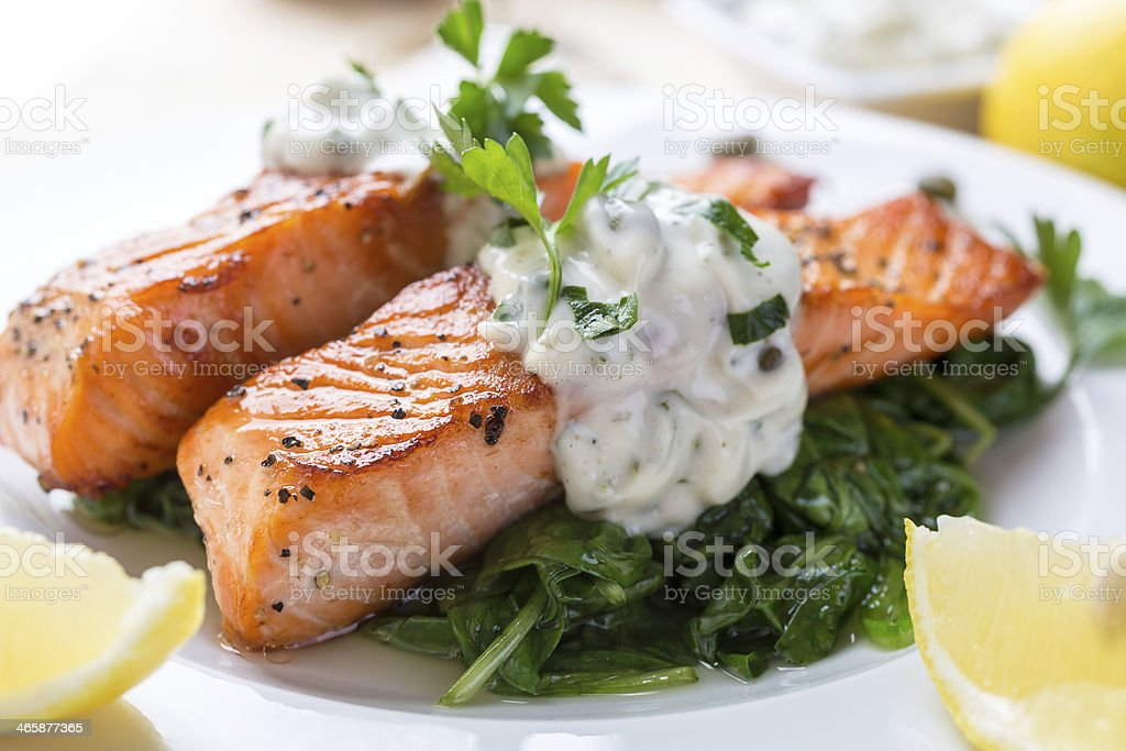 Salmon Steak with Cream Sauce stock photo