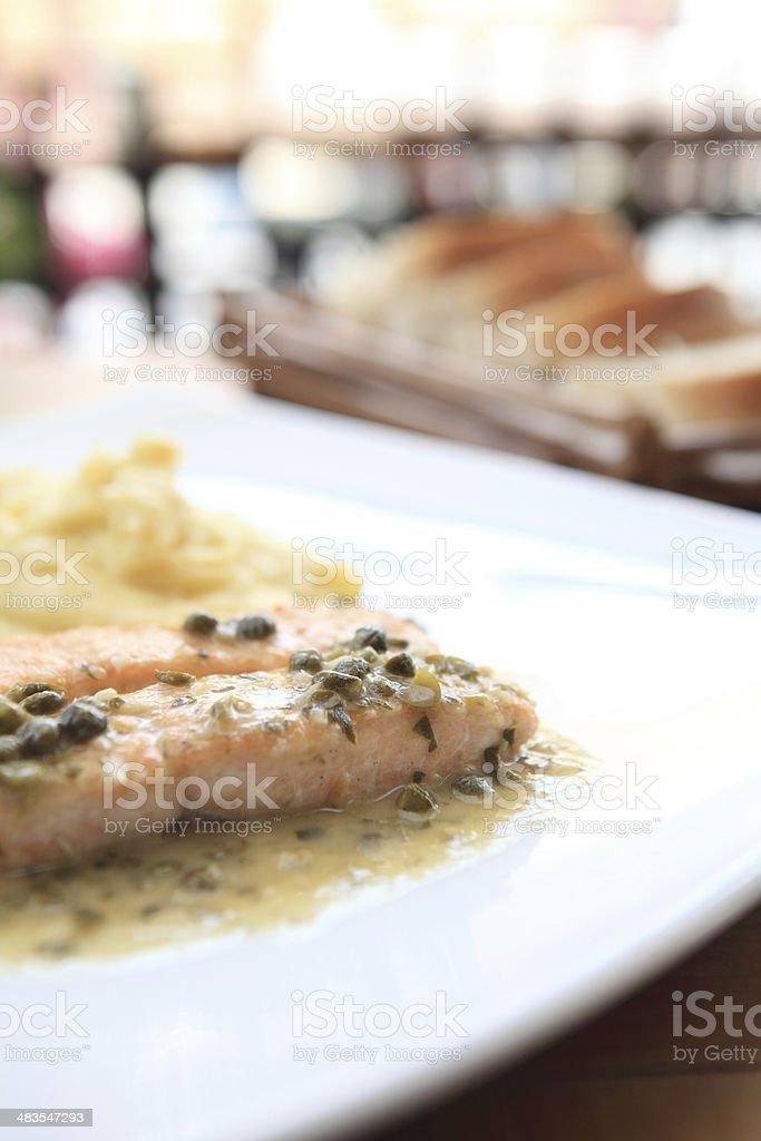 salmon steak with lemon sauce royalty-free stock photo
