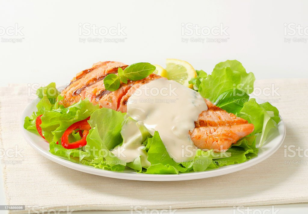Salmon steak with salad royalty-free stock photo