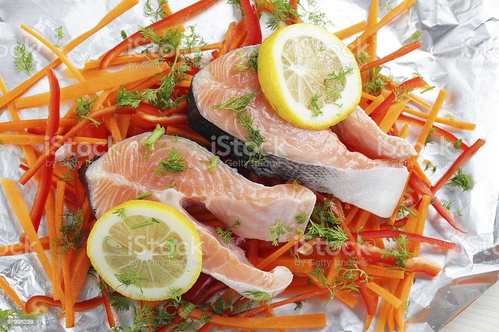 Salmon steaks before cooking royalty-free stock photo