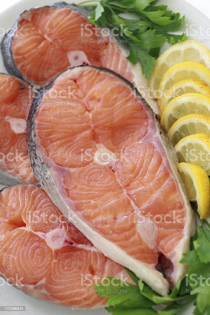 Salmon steaks. royalty-free stock photo