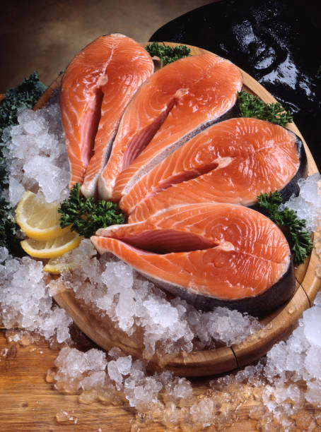 salmon steaks - chinook salmon stock photos and pictures