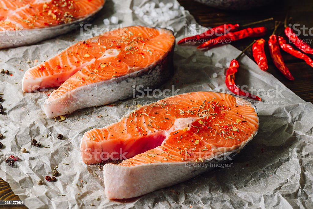 Salmon Steaks with Spices. stock photo