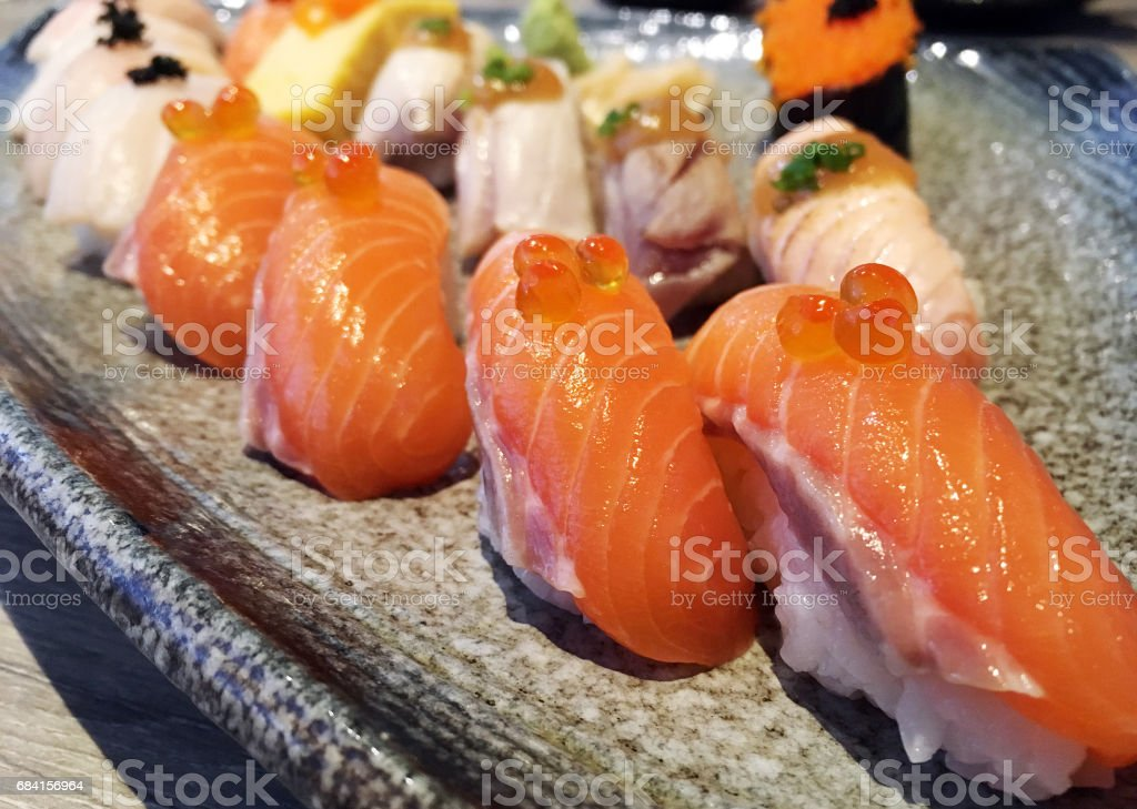 Salmon sushi Japanese food served with crab stick (Kanikama) foto stock royalty-free