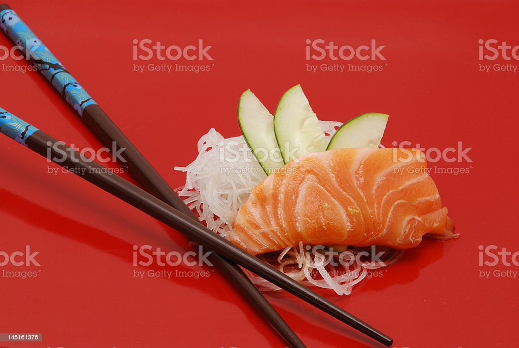 Salmon sushi on red plate royalty-free stock photo