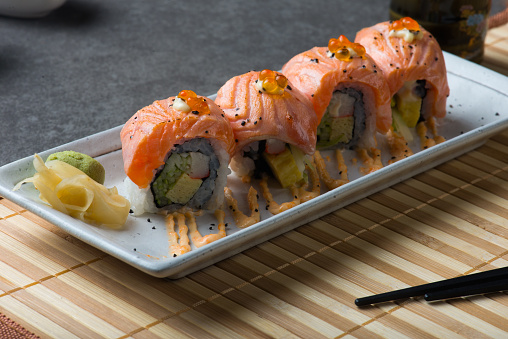 Salmon Sushi Roll Stock Photo - Download Image Now
