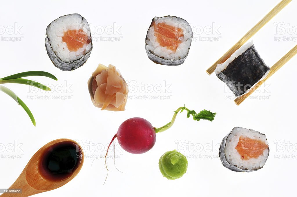 Salmon Sushi Roll royalty-free stock photo