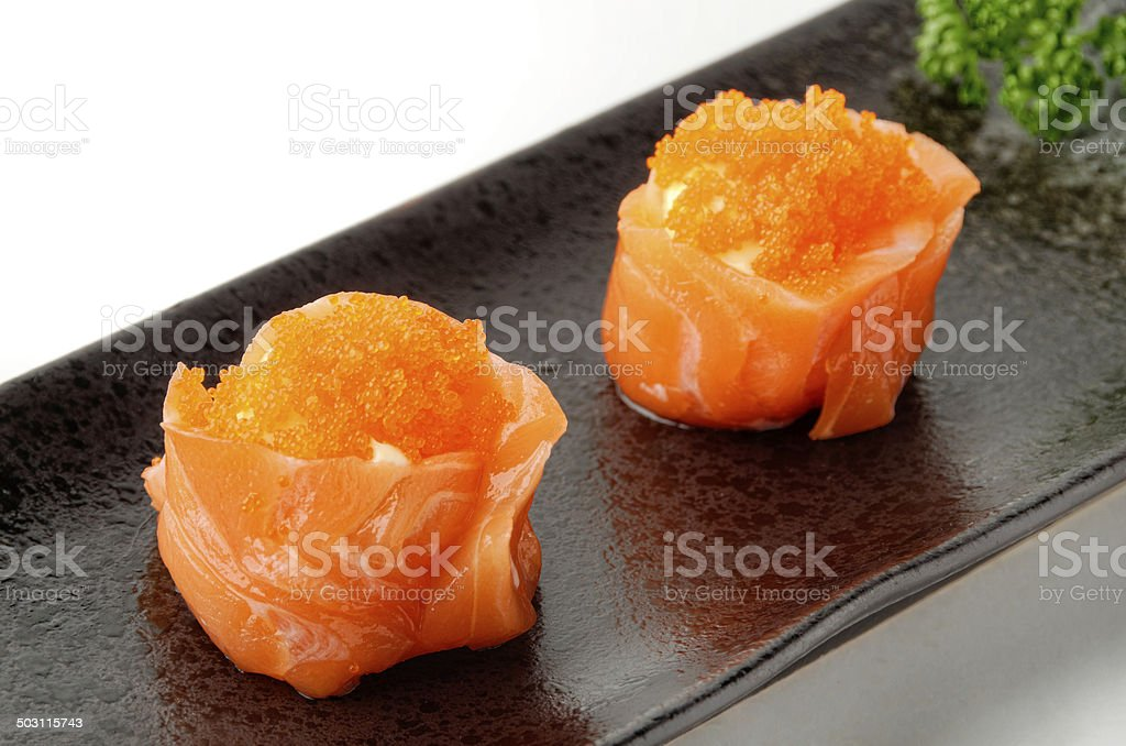 Salmon Sushi Roll With Fish Eggs And Mayonnaise Stock Photo