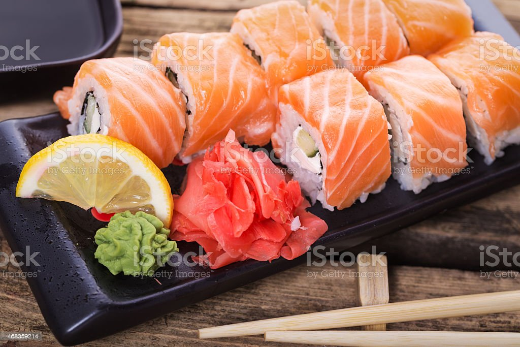 Salmon sushi rolls royalty-free stock photo