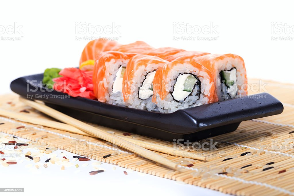Salmon sushi rolls royalty-free stock photo