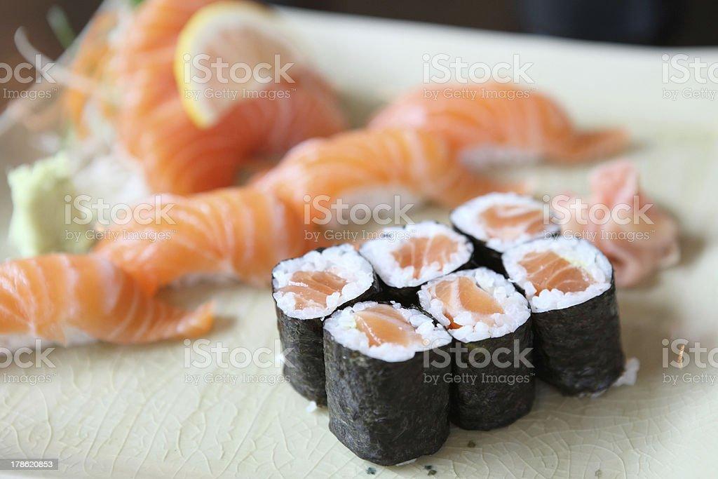 Salmon Sushi set royalty-free stock photo