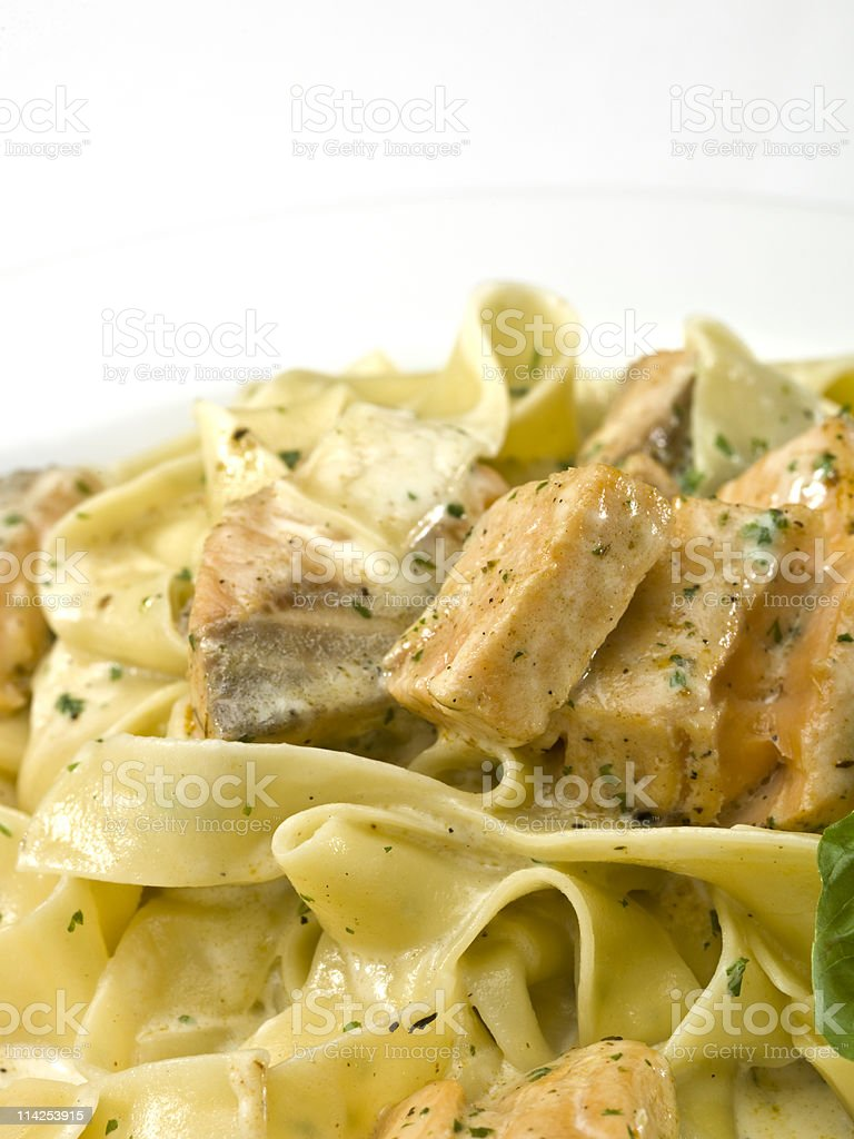 Salmon Tagliatelle royalty-free stock photo