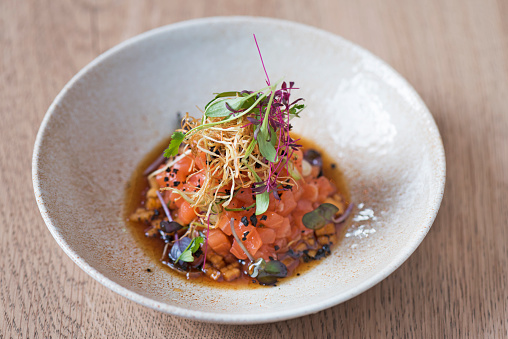 Salmon tartare with persimmon, sweet ponzu and Beluga caviar