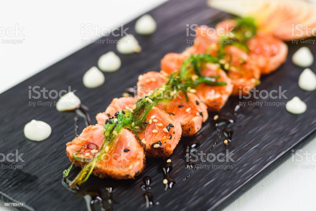 Salmon Tataki Japanese food salmon fillet stock photo