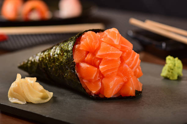 salmon temaki - japanese food stock photos and pictures