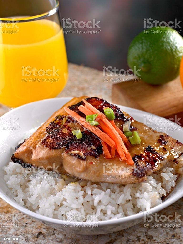 Salmon Teriyaki over Steamed White Rice. royalty-free stock photo