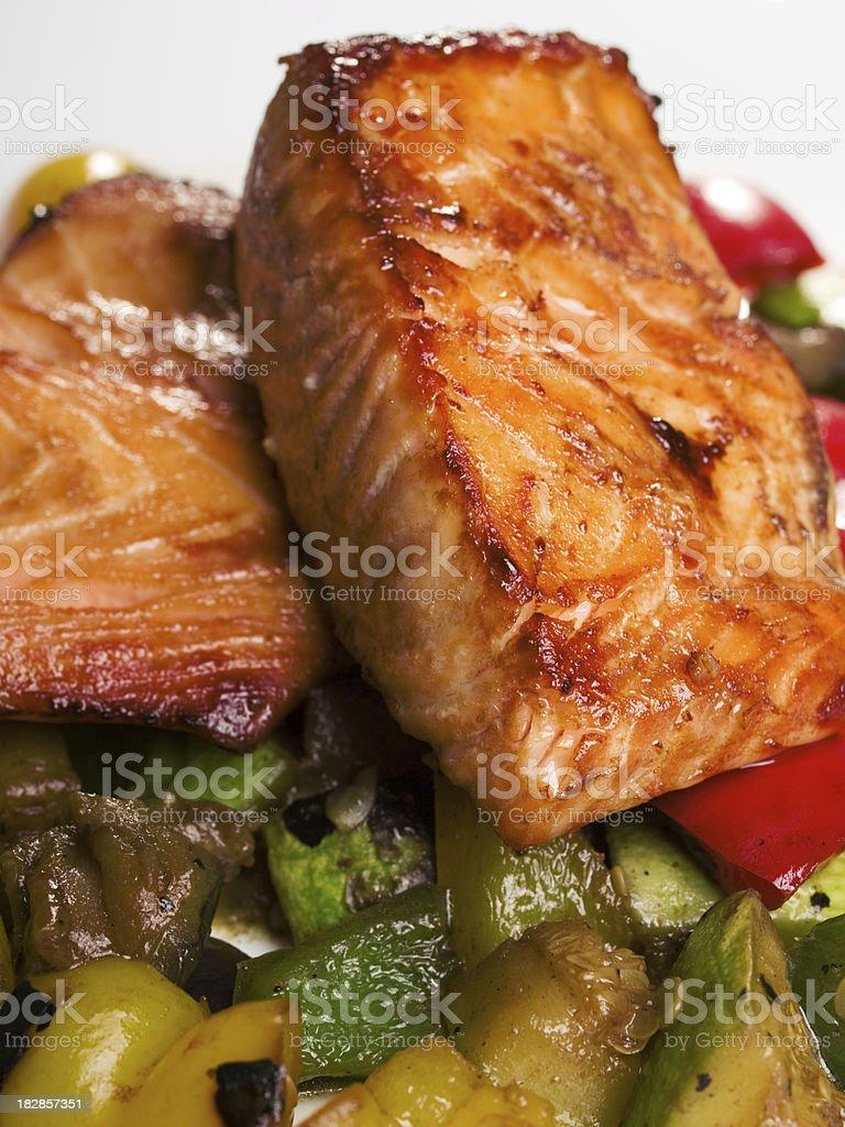 Salmon Teriyaki over vegetables royalty-free stock photo