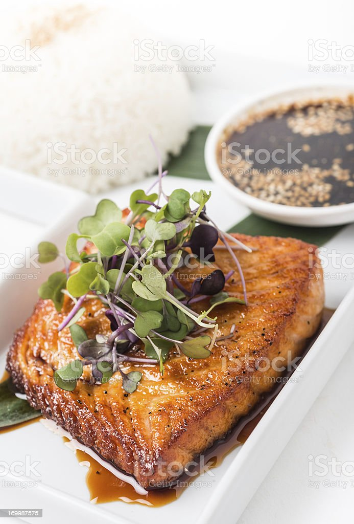 Salmon Teriyaki stock photo