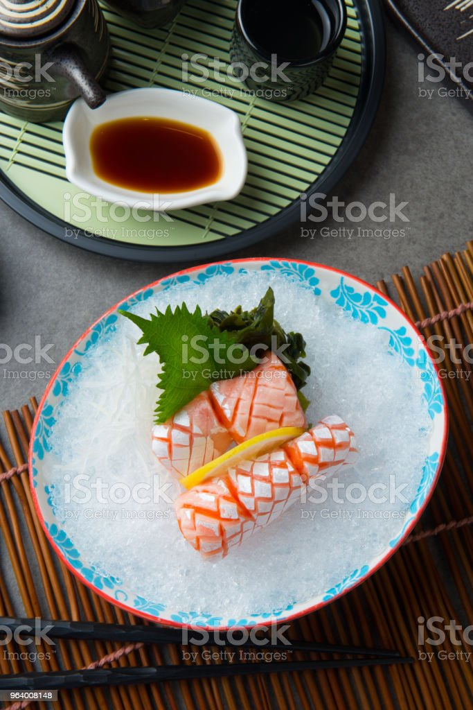 Salmon Toro , Fish belly  Japanese sashimi Food - Royalty-free Dinner Stock Photo