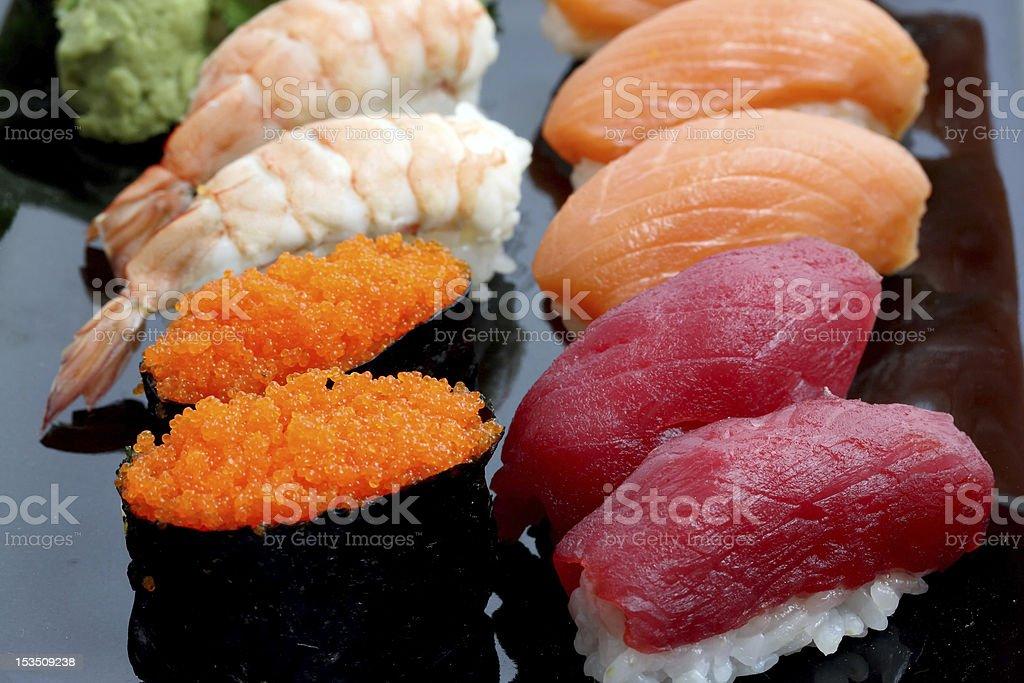 Salmon Tuna Shrimp Sushi isolated in white background royalty-free stock photo
