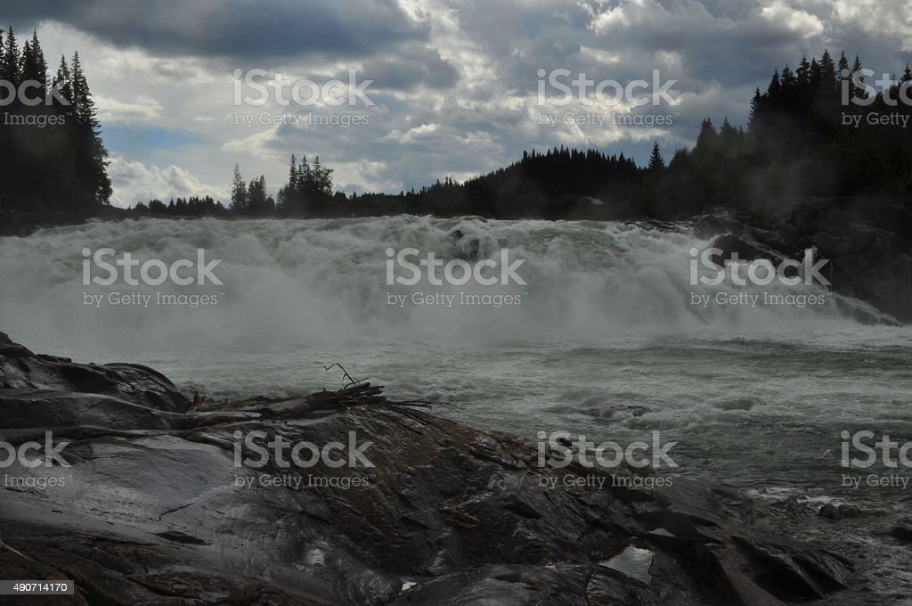 Salmon waterfall at Helgeland Norway stock photo