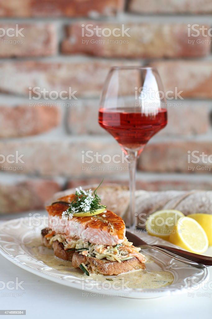 salmon wiht cole slaw salad stock photo
