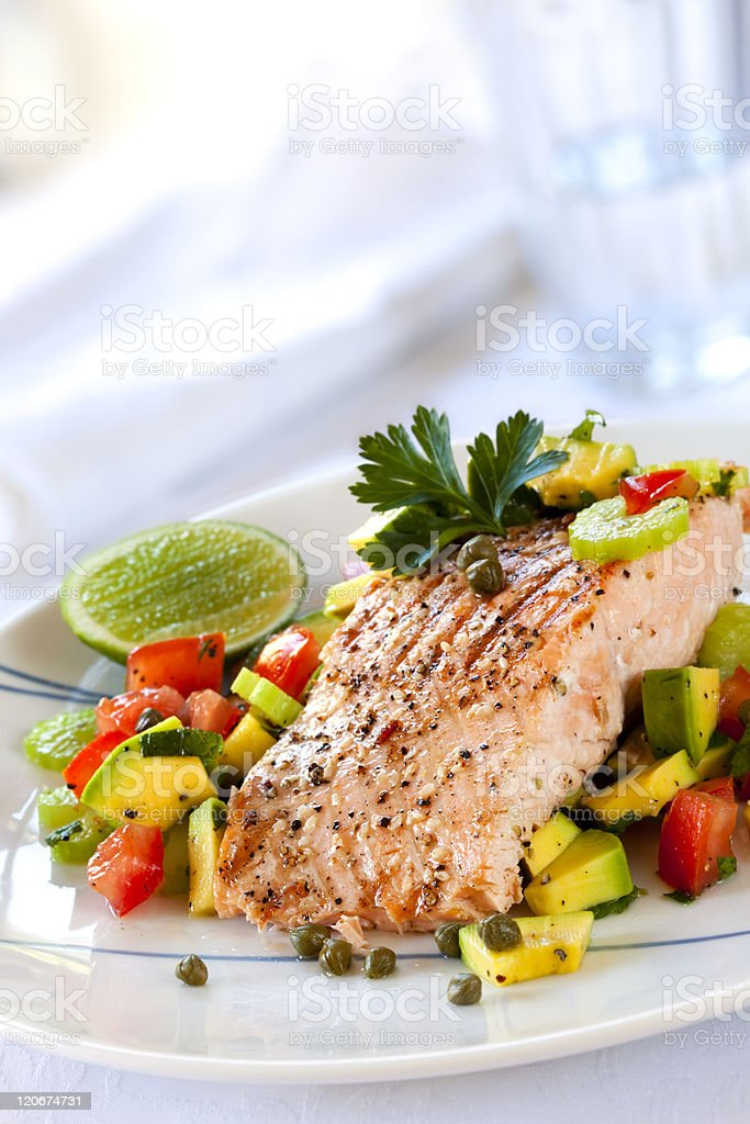 Salmon with Avocado Salsa royalty-free stock photo