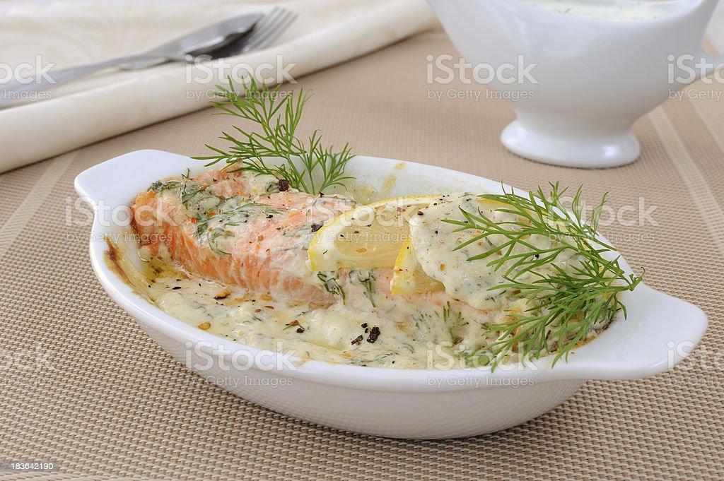 Salmon with cream and lemon sauce royalty-free stock photo