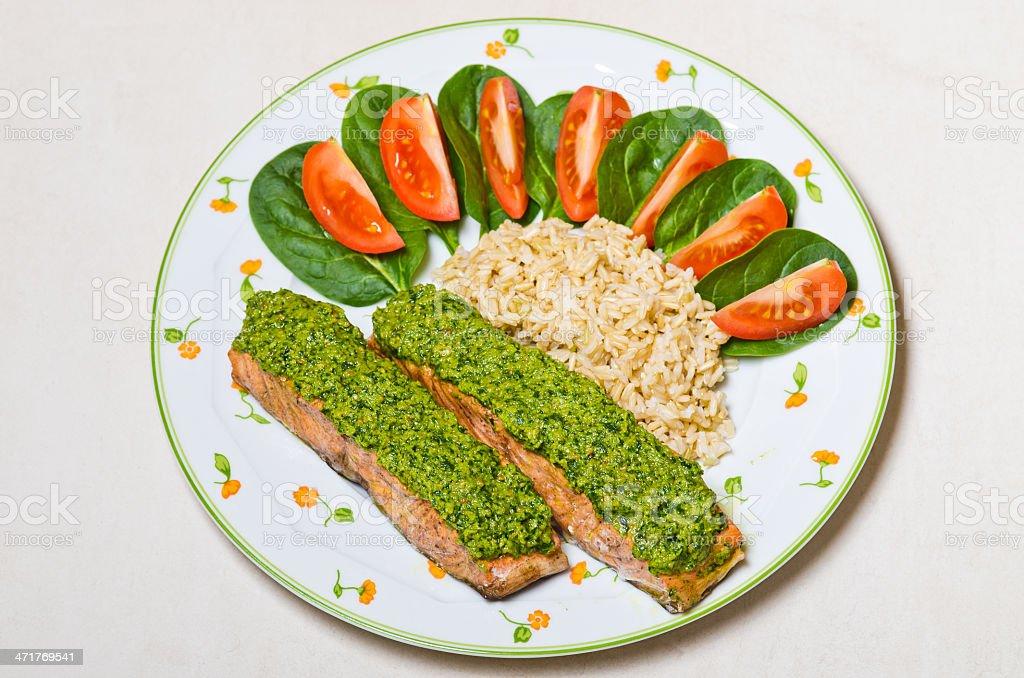 Salmon with pesto royalty-free stock photo