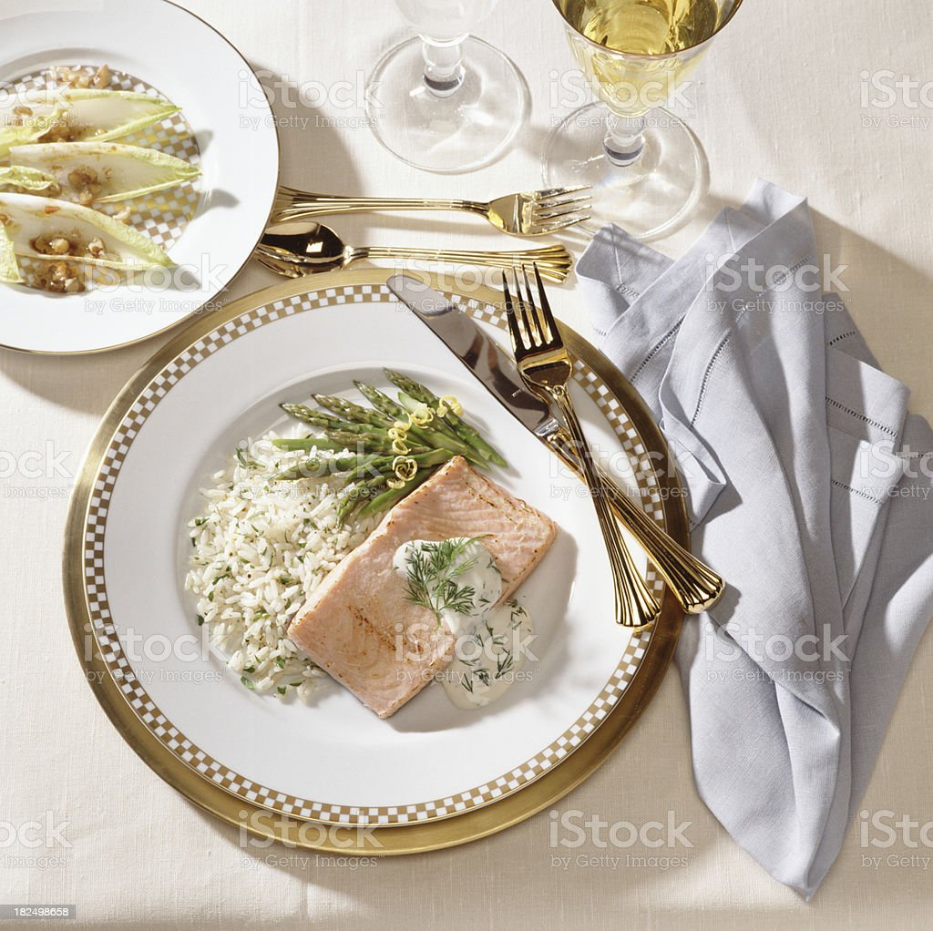 Salmon with rice and asparagus royalty-free stock photo