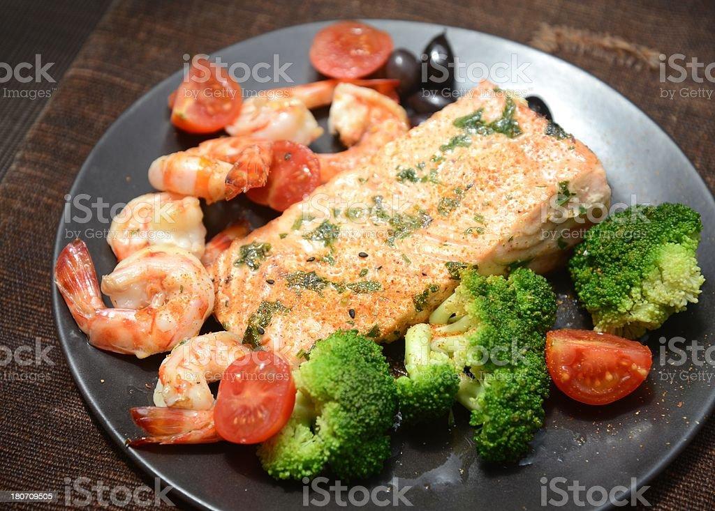 Salmon with shrimps royalty-free stock photo