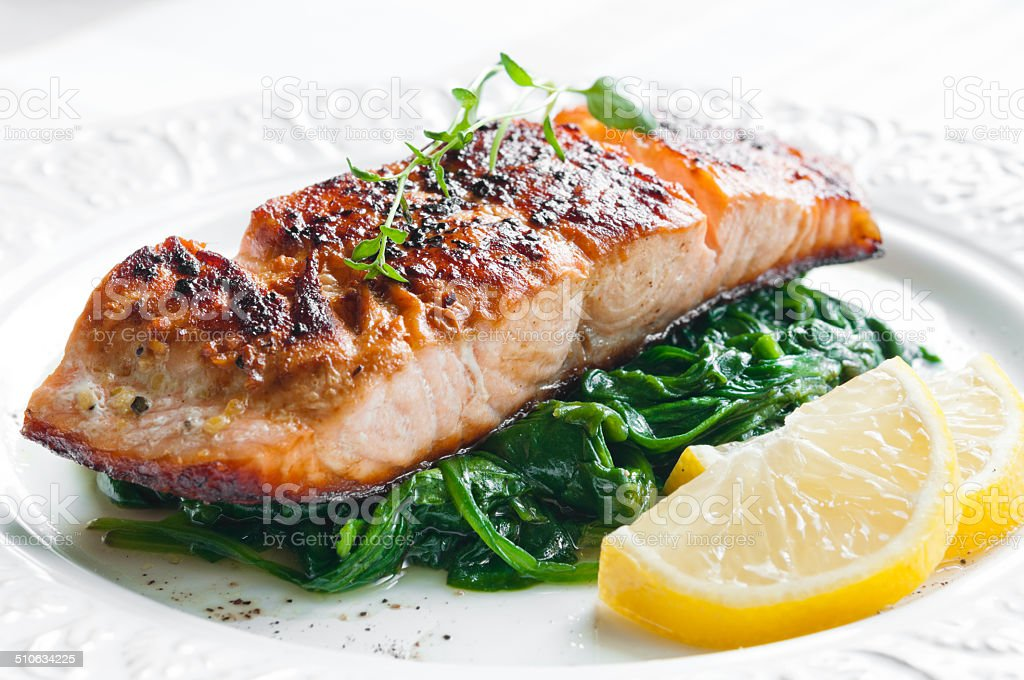 Salmon with Spinach stock photo
