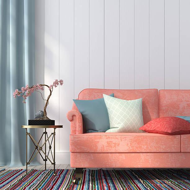 lachs-bunten sofa und tisch aus metall - blumenstreifen stock-fotos und bilder