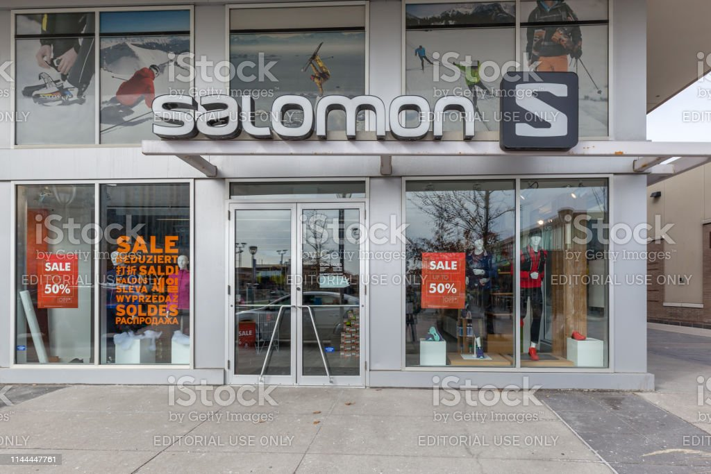 Salomon store front at Shops at Don Mills in Toronto. stock photo