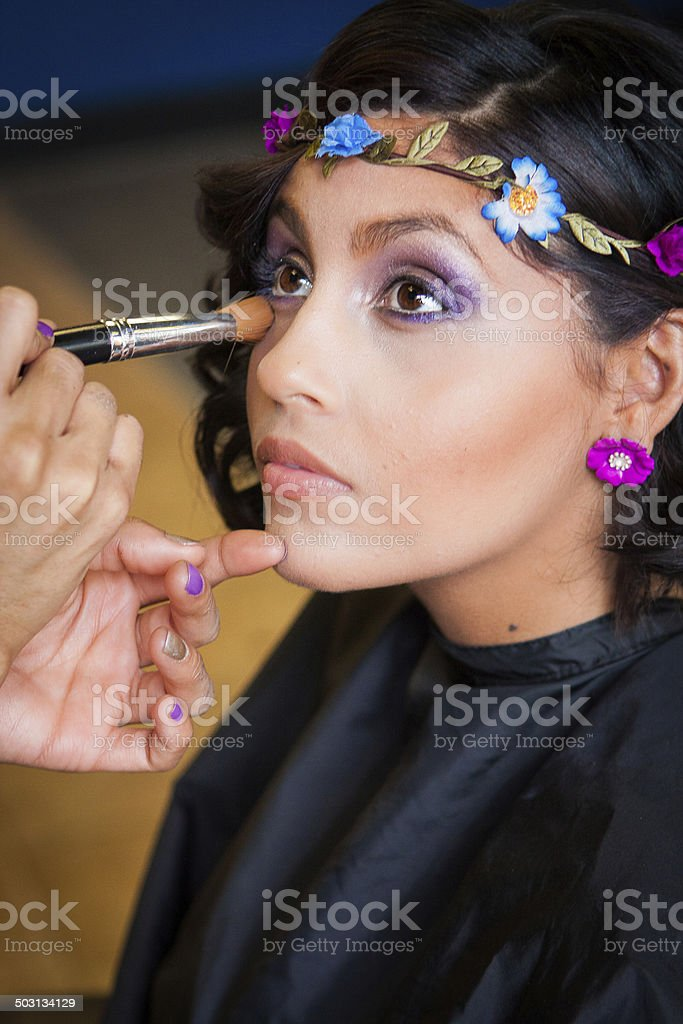 Salon Beautician Applies Eye Makeup to a Customer stock photo