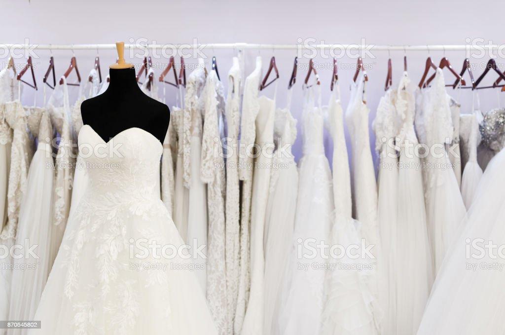 Salon for wedding dresses stock photo
