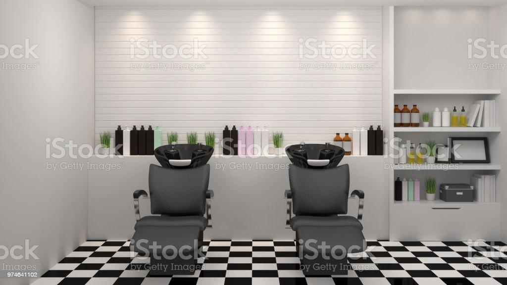 modernen Einrichtungsstil Salon, Spa, Schönheit, 3D-Illustration, Friseur, Haar, Nagelstudio, Hintergrund – Foto