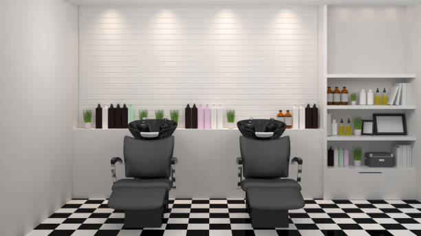 salon interior modern style,spa,beauty, 3d illustration,hairdresser,hair, nail salon,background - beauty salon stock photos and pictures
