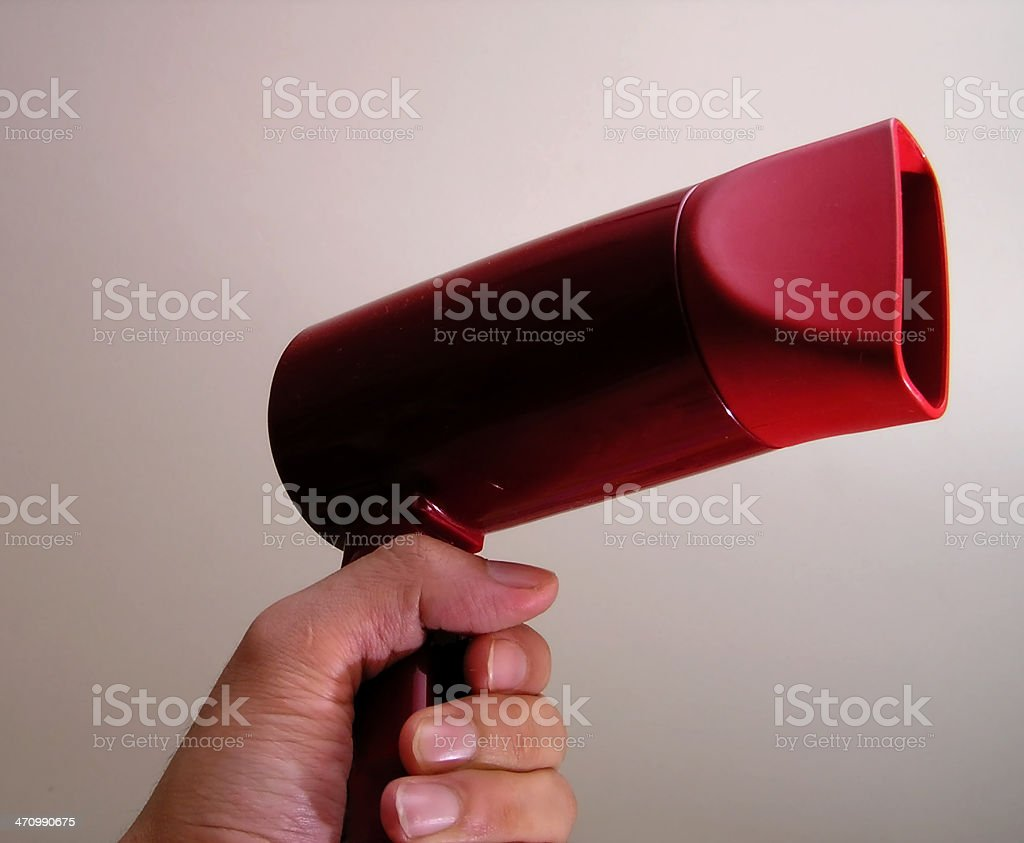 salon- red hair dryer in hand royalty-free stock photo