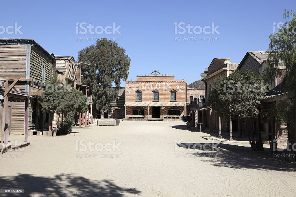 Saloon in a western town stock photo