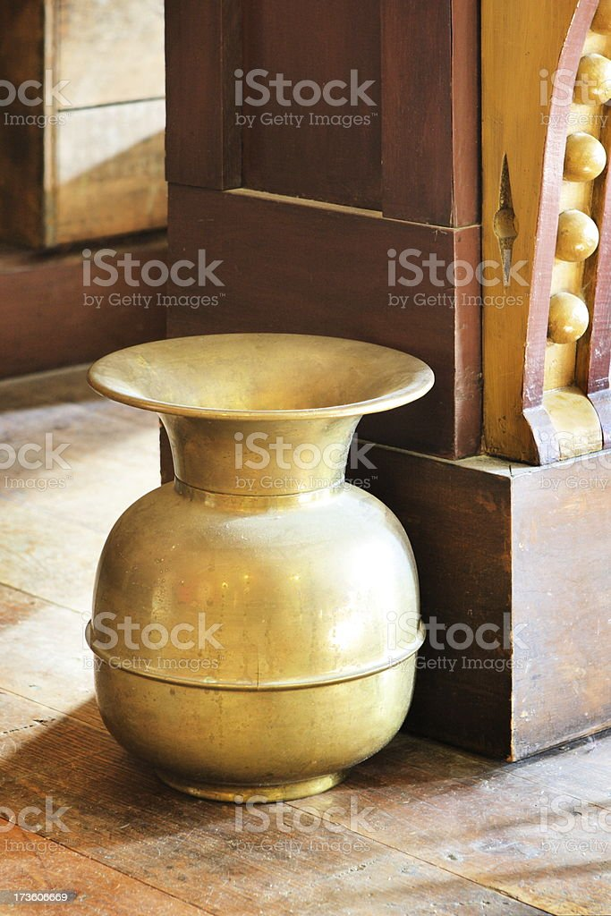 Saloon Spittoon Wild West Brass Decor stock photo