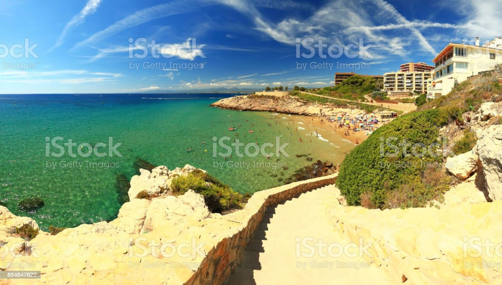 Salou resort town coastline stock photo