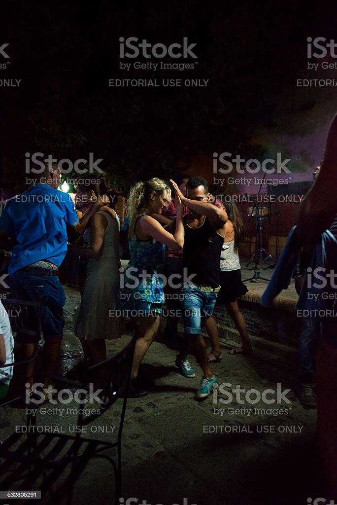 Salsa dancing in Trinidad, Cuba stock photo