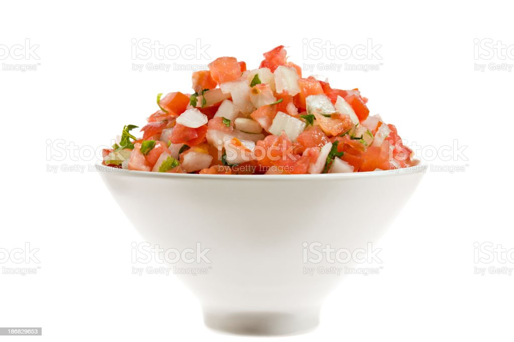 Salsa Fresca In A Bowl Isolated stock photo