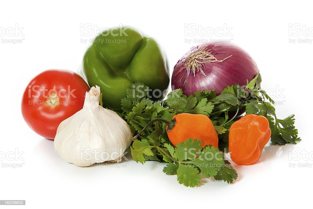 Salsa ingredients - pile of mixed healthy vegetables on white stock photo