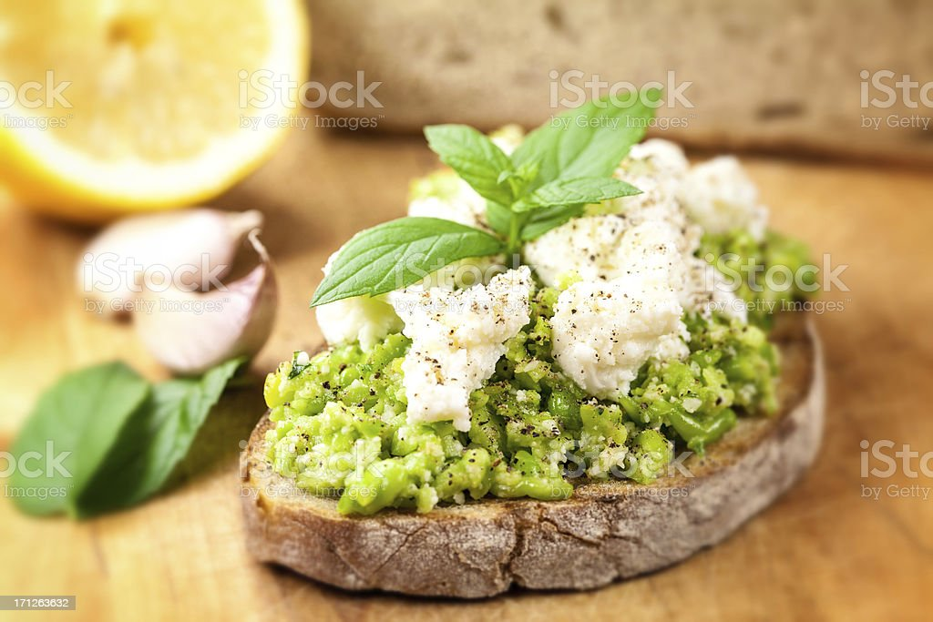 Salsa with fresh broad beans and peas stock photo