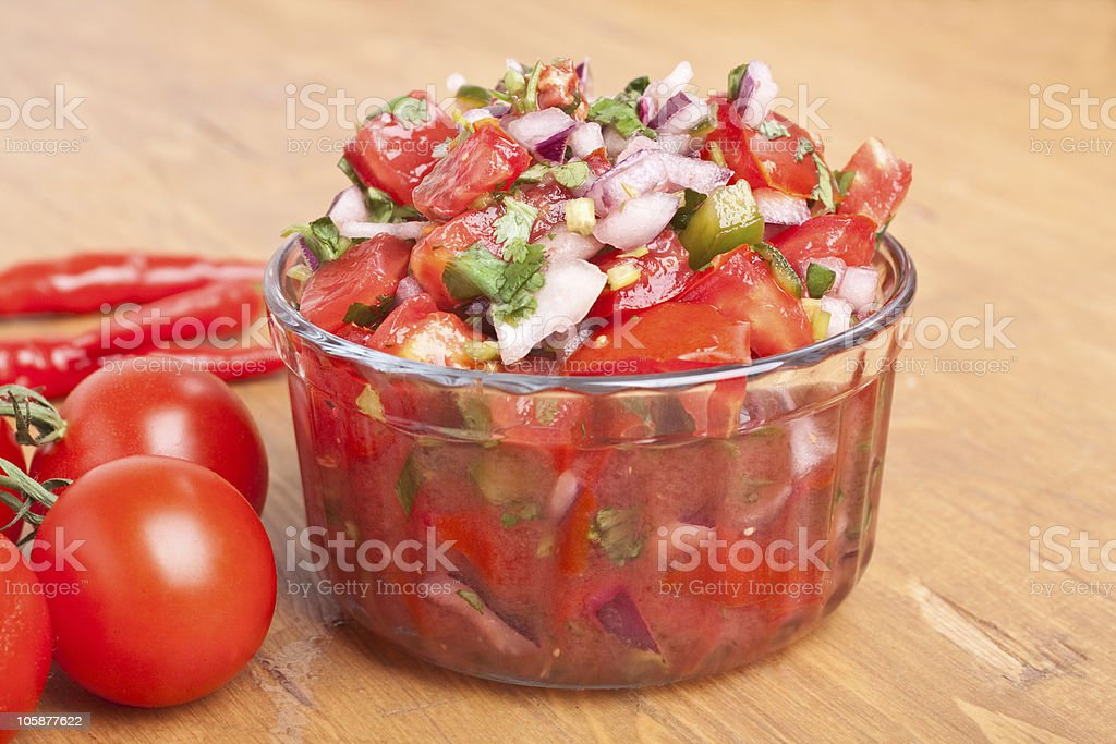 Salsa with Tomatoes, Onions, and Cilantro stock photo