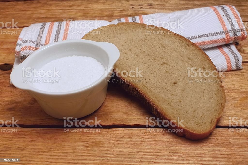Salt and bread stock photo