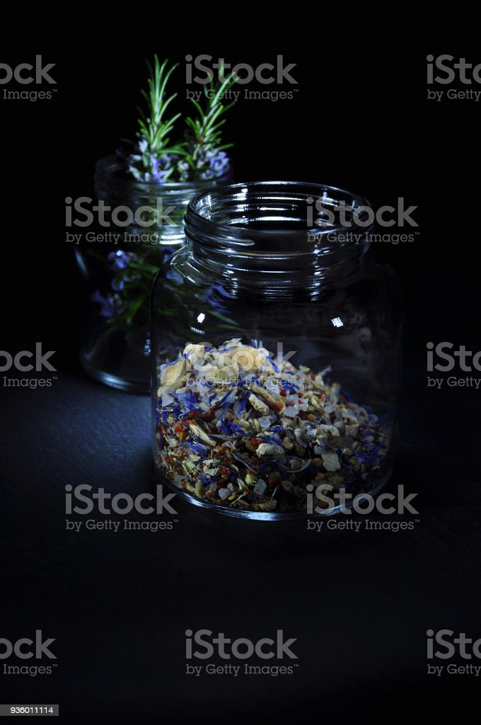 Salt And Herbs stock photo